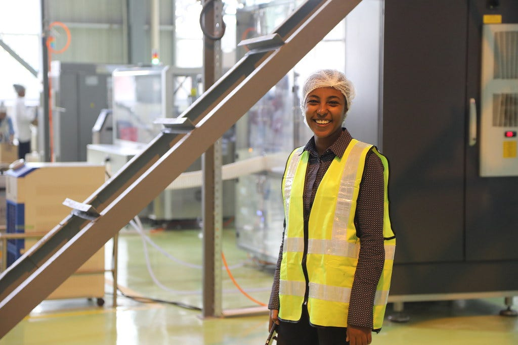 A factory worker at Unilever's oral care plant in Ethiopia