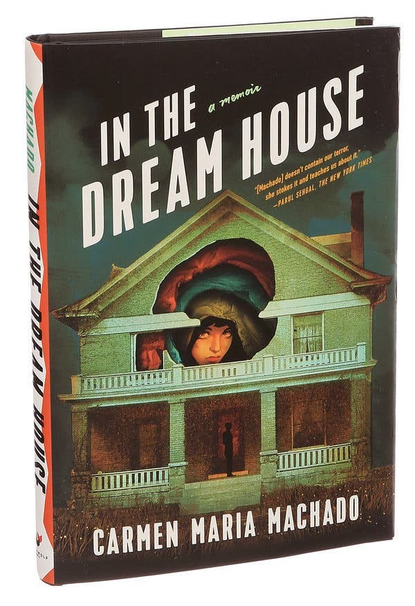 Cover of In The Dream House—A woman's face peaks out of layers in hole in a drawing of a house.