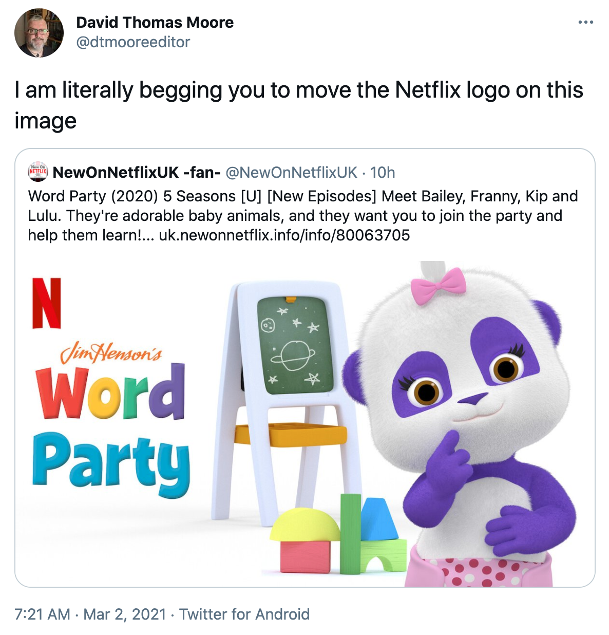 """Tweet reading """"I am literally begging you to move the Netflix logo on this image"""" above a tweet promoting a show that looks like it's named """"Jim Henson's N Word Party"""""""