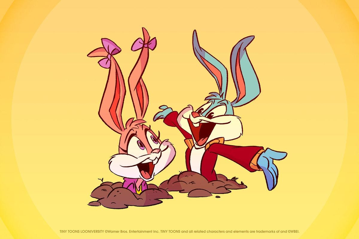 Two colored rabbits pop out of a hole in the ground on a yellow background