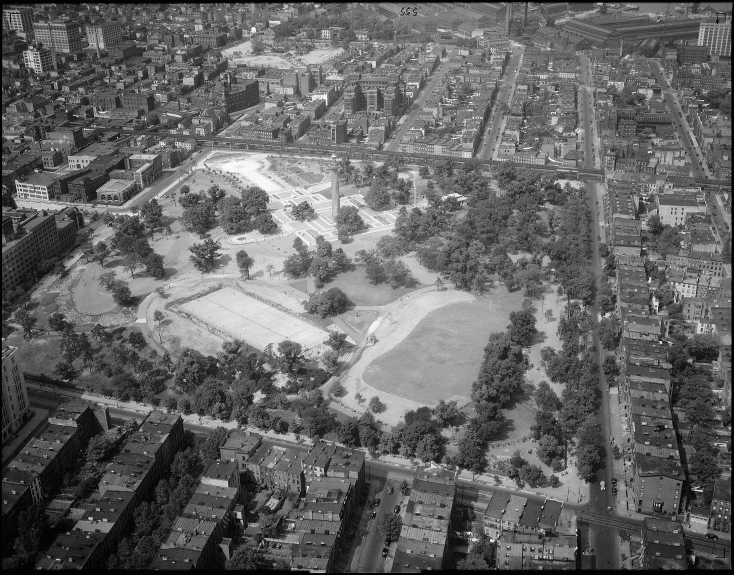 A black and white overhead photo of Fort Greene