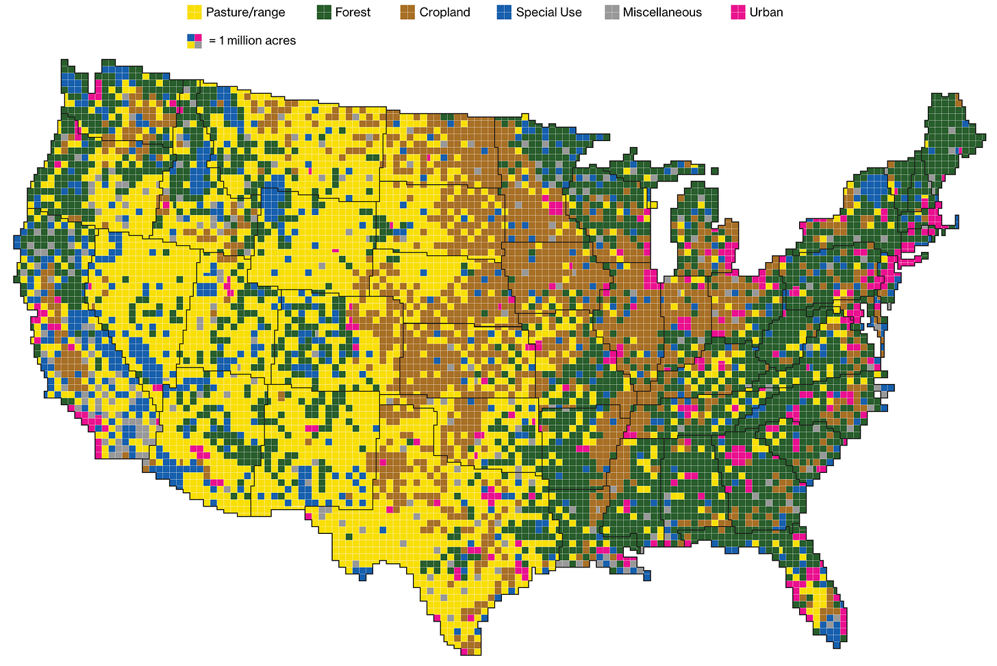 """""""Here's how America Uses its Land"""". The article goes much deeper."""