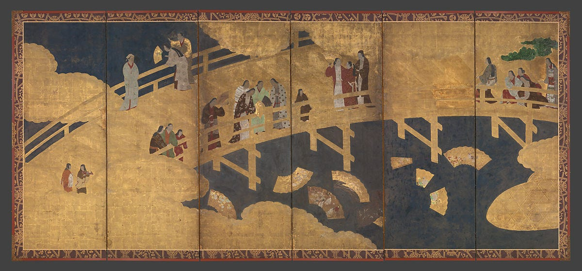 Women on a Bridge Tossing Fans into a River, Six-panel folding screen; ink, color, gold, and gold leaf on paper, Japan