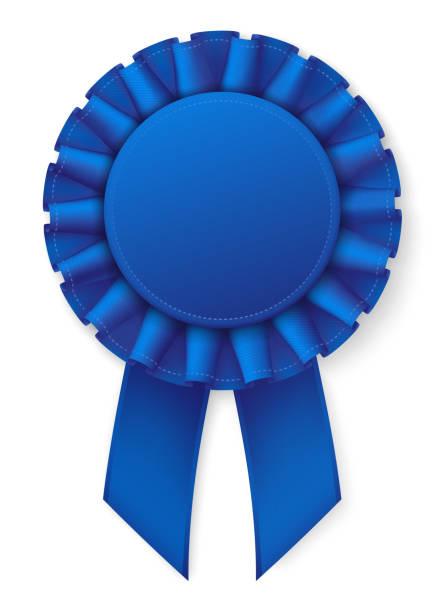Blue realistic award badge. Fabric ribbon with texture. White thread border. Eps10 vector blue ribbon stock illustrations