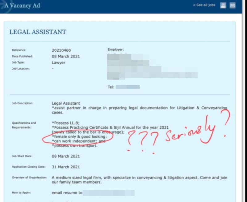 A screenshot showing the advertisement that was allegedly uploaded on the Malaysian Bar's job search platform yesterday — also International Women's Day — was posted on Facebook by user Aidhil Khalid, and has since garnered 461 shares by other users. — Screenshot from Facebook