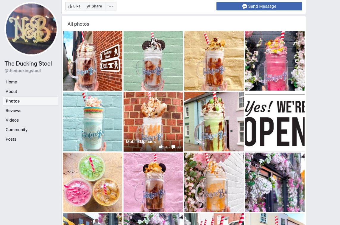 Facebook page with images of a variety of different flavoured milkshakes.