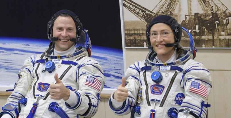 NASA astronauts Nick Hague and Christina Koch in Sokol pressure suits