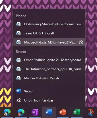 Pin a Word document to the Windows taskbar.