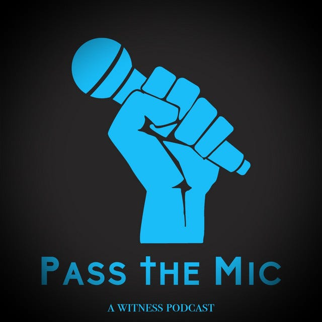 Image of blue fist gripping microphone; Pass The Mic logo