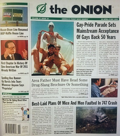 The Onion's front page for April 25, 2001