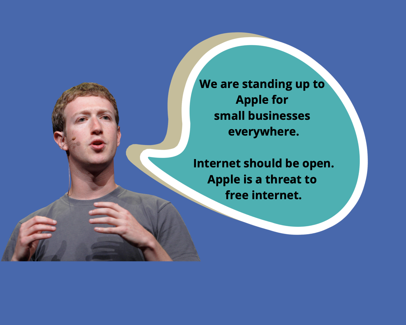 Facebook rolled out newspaper ads to criticize Apple.