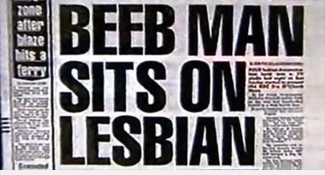Image result for beeb man sits on lesbian