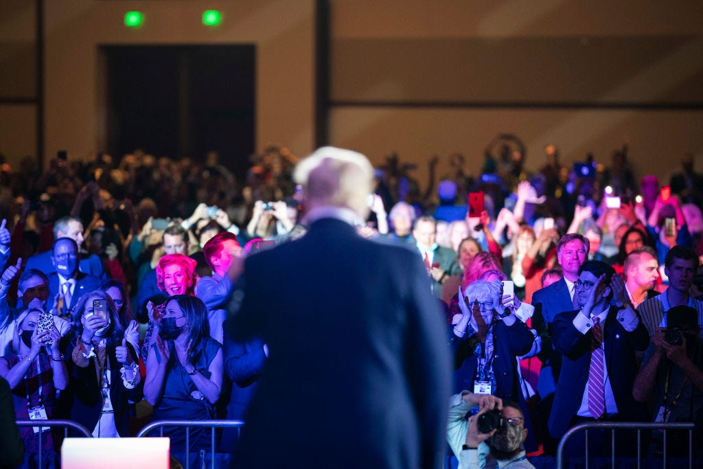 Former President Donald Trump speaks at the Conservative Political Action Conference in Orlando in February. Jabin Botsford / Getty Images