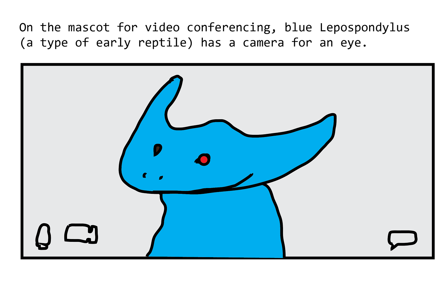 The mascot is a blue diplocaulus, an early amphibian with a huge boomerang-shaped head. It is making a zoom call.