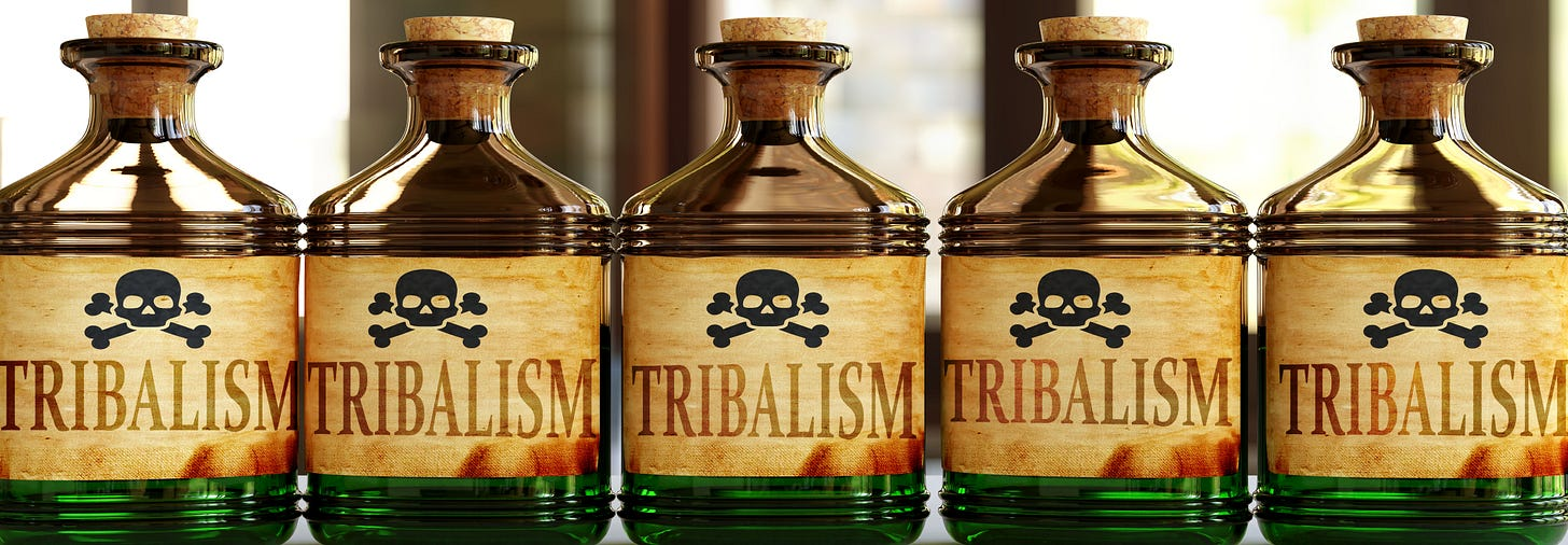 Tribalism in poison-marked bottles