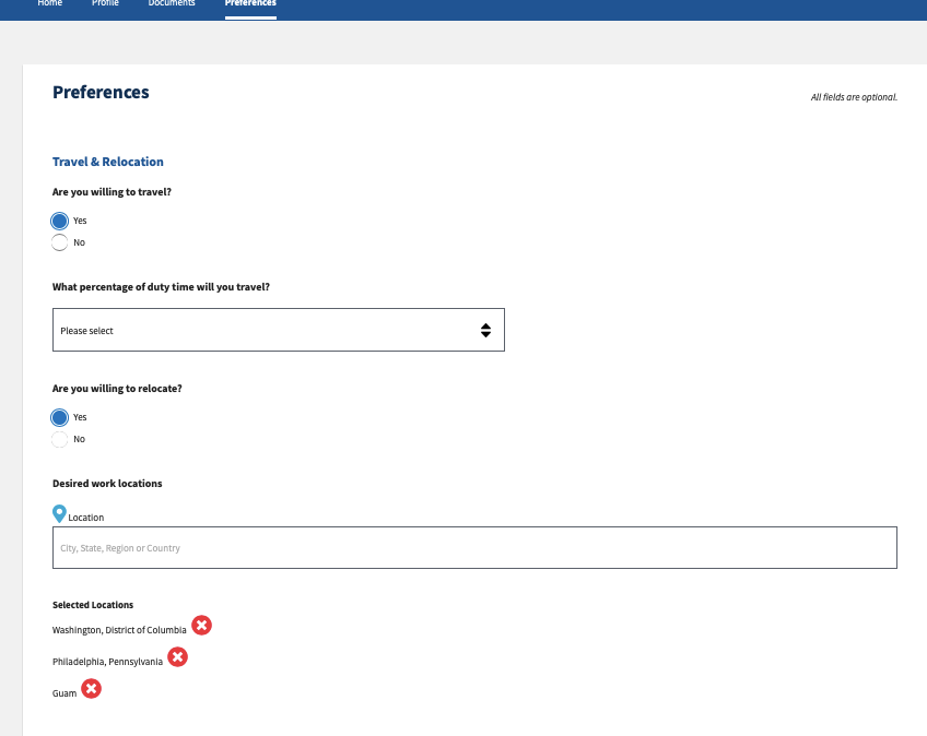 Screengrab of the Preferences tab on USAJOBS profile page, showing travel and location preference options.