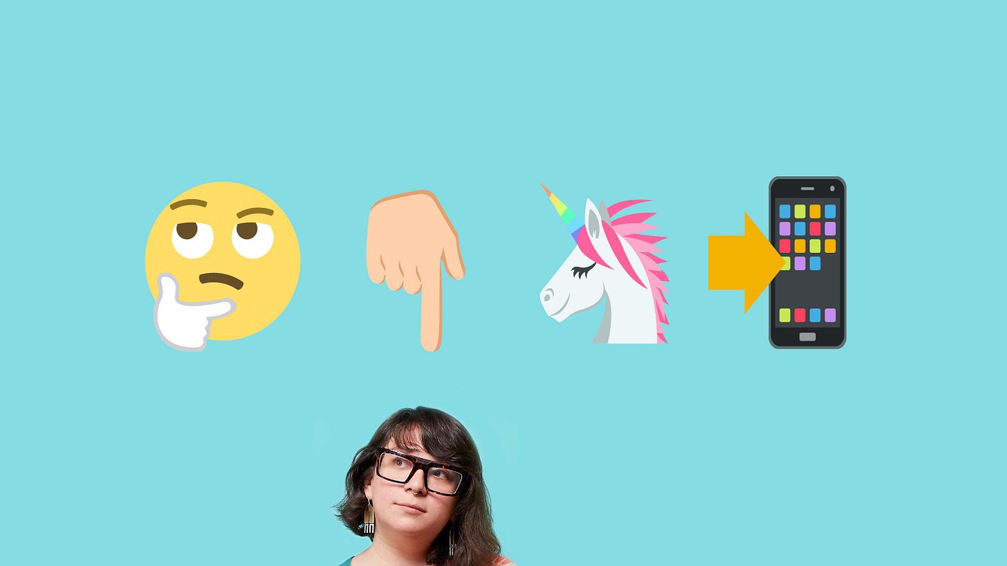 image in robin's egg blue background of woman at bottom jennifer daniel looking thoughtful with four emoji above her thinking face emoji hand pointing down emoji unicorn emoji and smartphone emoji