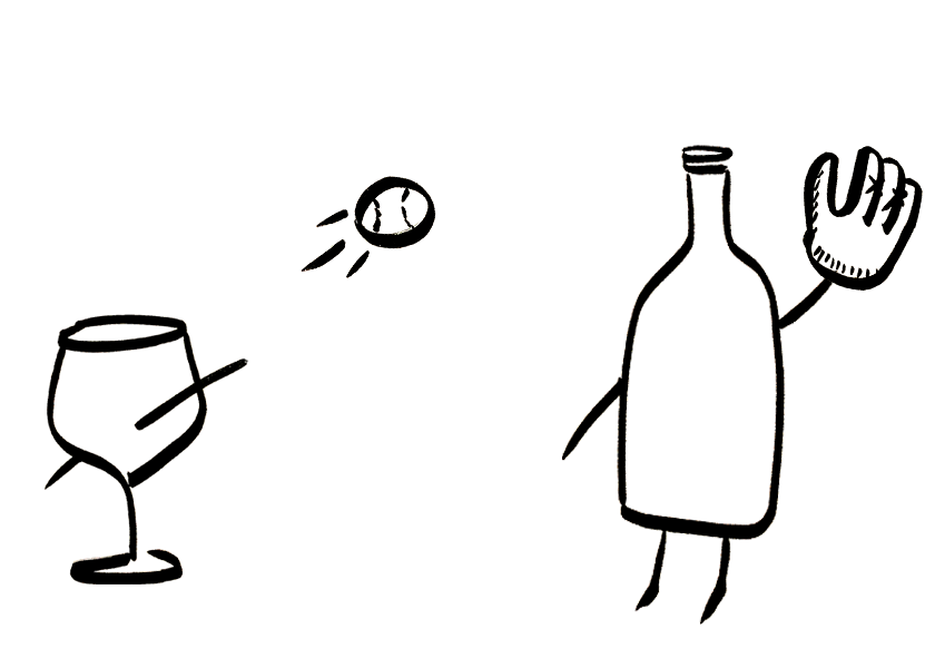 An anthropomorphic wine glass and bottle play father-son catch