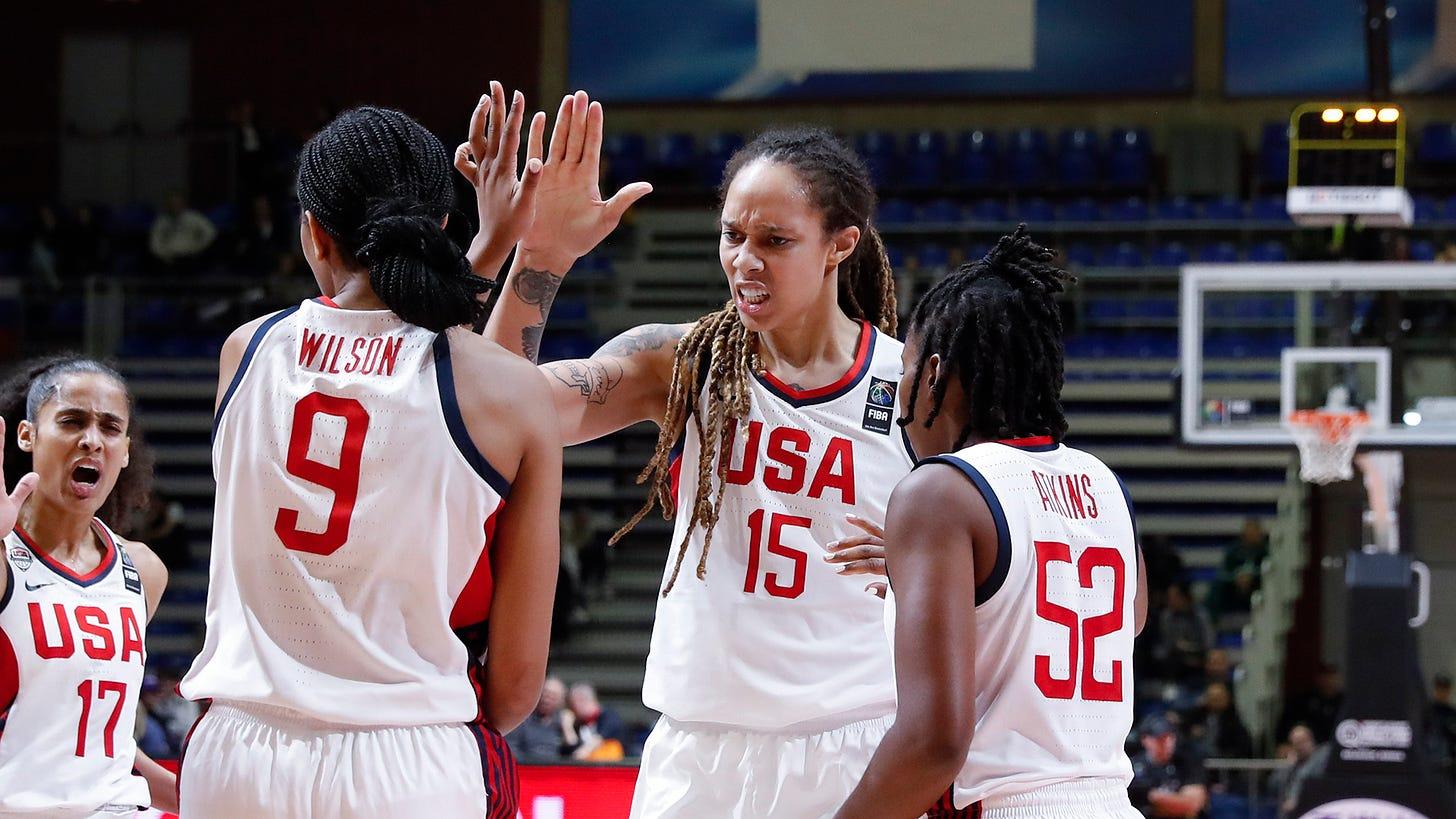 Brittney Griner, A'ja Wilson, Ariel Atkins and Skylar Diggins-Smith. (photo courtesy of USA Basketball)
