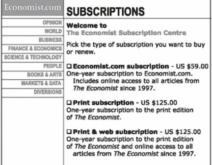 The decoy pricing example from The Economist.