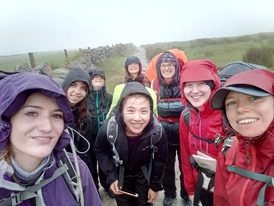 IMAGE: Bedraggled but happy wild campers!