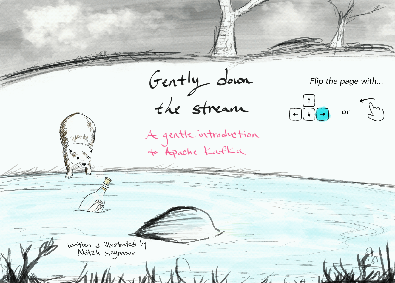 """The cover of the book. """"Gently down the stream: a gentle introduction to Apache Kafka"""". Soft pastel colors with a sketch of an otter."""