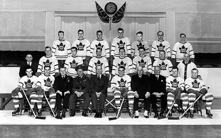 The 1942 Stanley Cup Finals was a best-of-seven series between the Toronto  Maple Leafs and the Detroit Red Wings. After losing the first three games,  the Maple Leafs won the next four