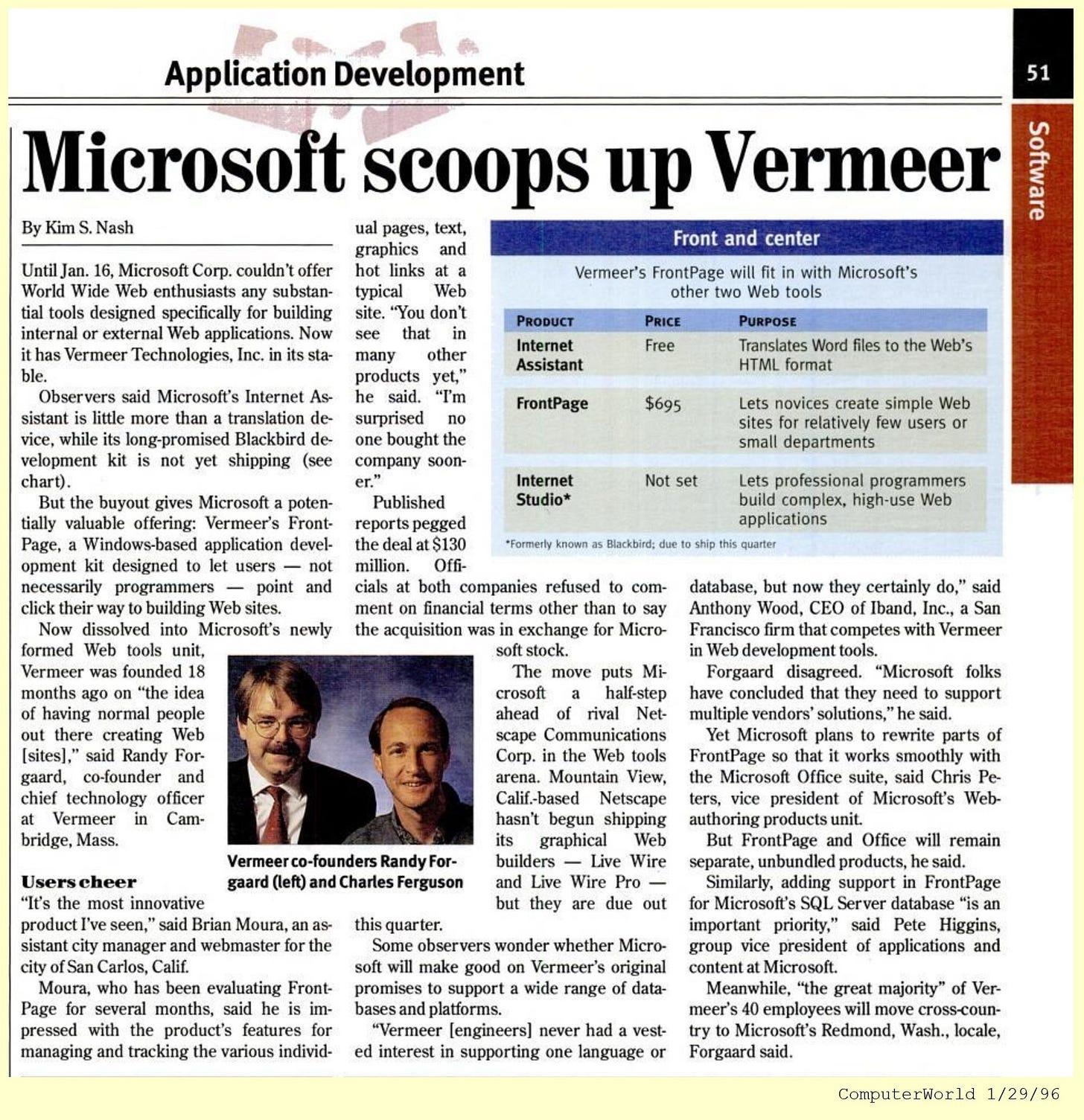 """Scanned news article, """"Microsoft Scoops Up Vermeer"""""""