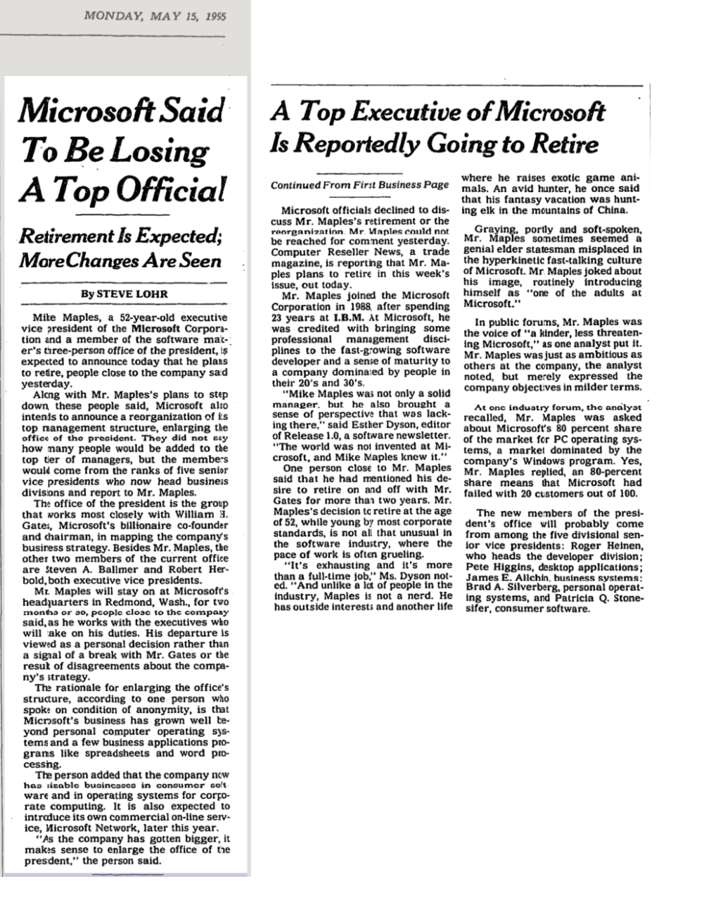Microsoft said to be losing a top official. Retirement is expected; more changes are seen.