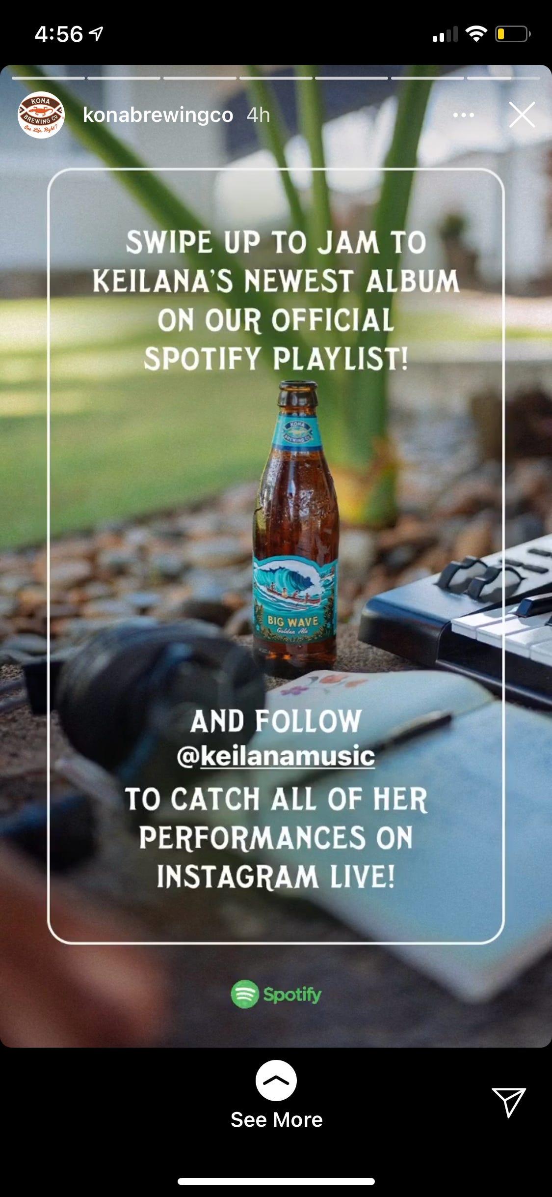 Kona Insta story promoting Spotify playlist