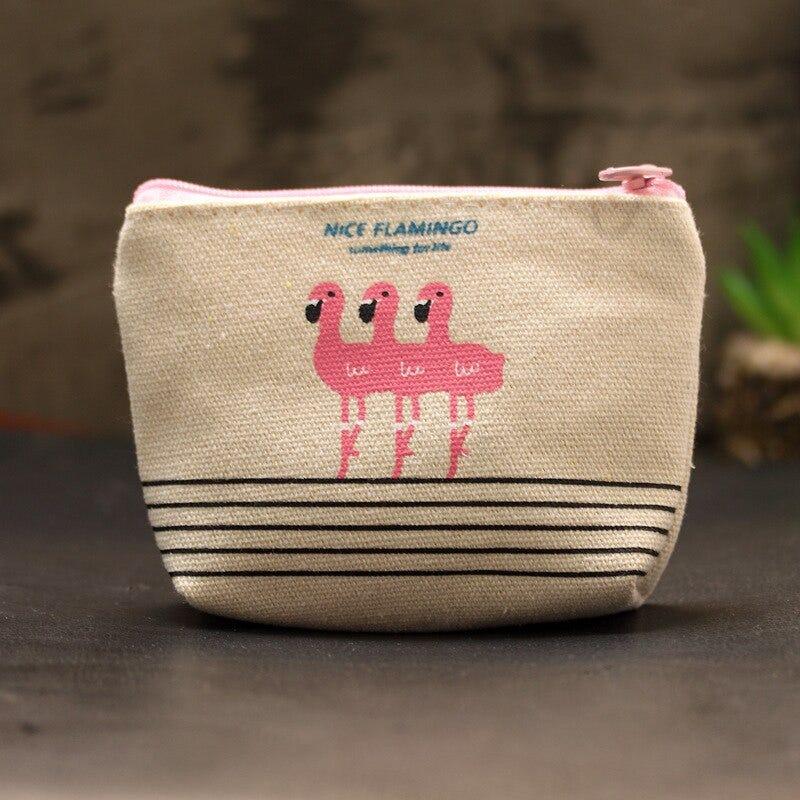 flamingo small wallet square mini pocket woman cartoon