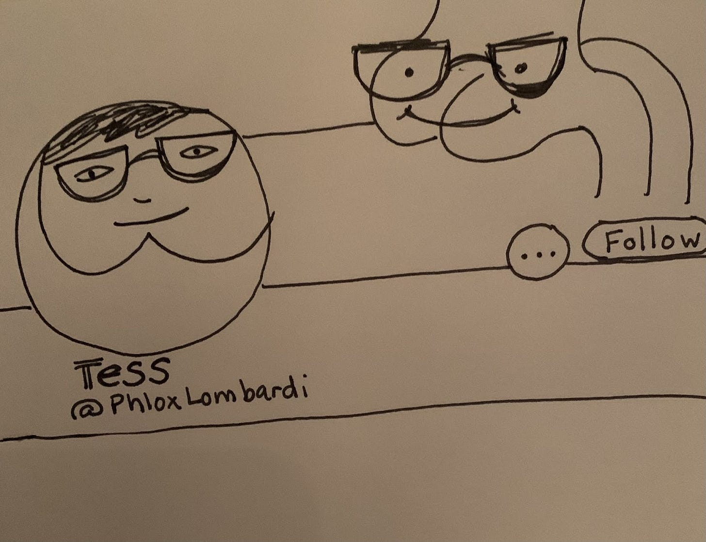 Sketch of a Twitter page with poorly-drawn butt face avatar and butt header