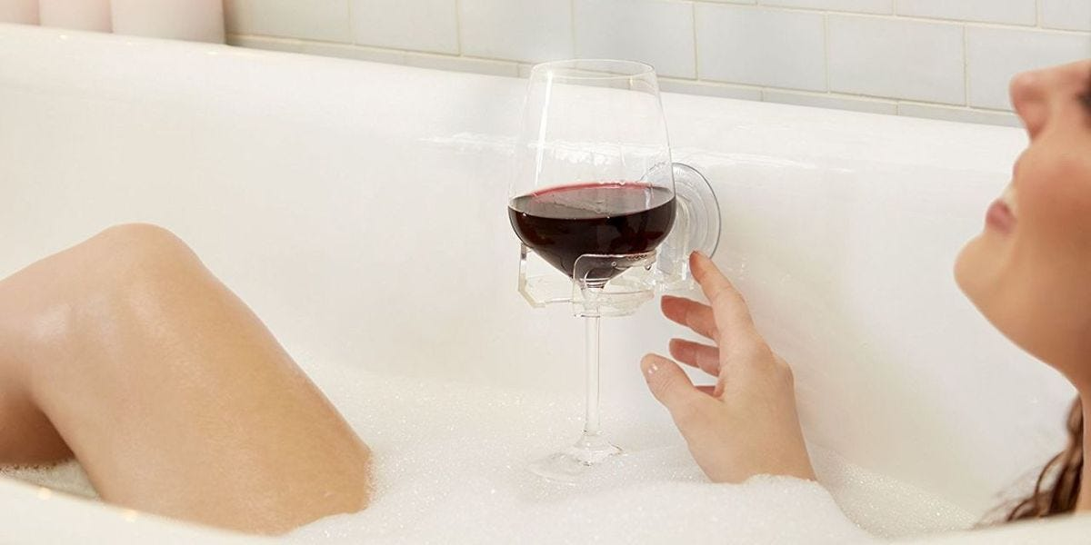 SipCaddy Lets You Drink Wine In The Shower - Shower Wine Glass Holder -  Delish.com