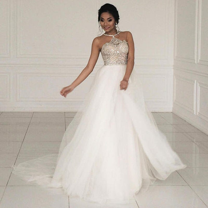 235646732 Dubai Beach Crystal Beaded Wedding Dresses 2018 Real Image Halter A Line Tulle Bridal Gowns With Side Split Robe De Mariee Weddings Events Wedding Dresses