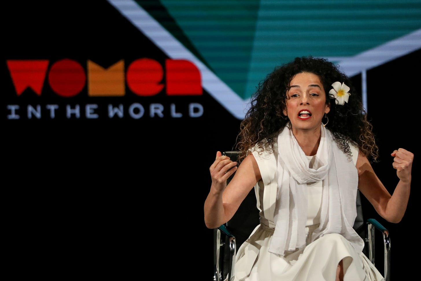 Masih Alinejad, Iranian journalist and women's rights activist, speaks on stage at the Women In The World Summit in New York, U.S, April 12, 2019. REUTERS/Brendan McDermid/File Photo
