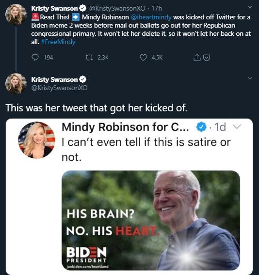 "The meme shows a photograph of Joe Biden smiling with the text ""His Brain? No. His Heart. Biden for president"""