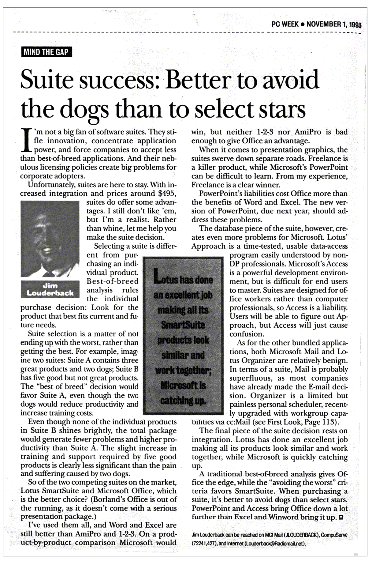 """Scanned article """"Suite Success: Better to avoid the dogs than to Select Stars"""""""