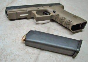 Glock handgun with magazine ejected