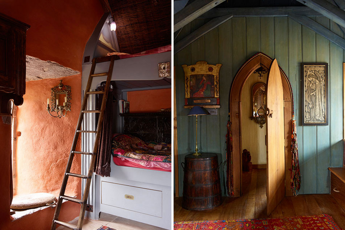 Two detail pictures from Jeremy Irons castle, a bunkbed and a Gothic-arched doorway