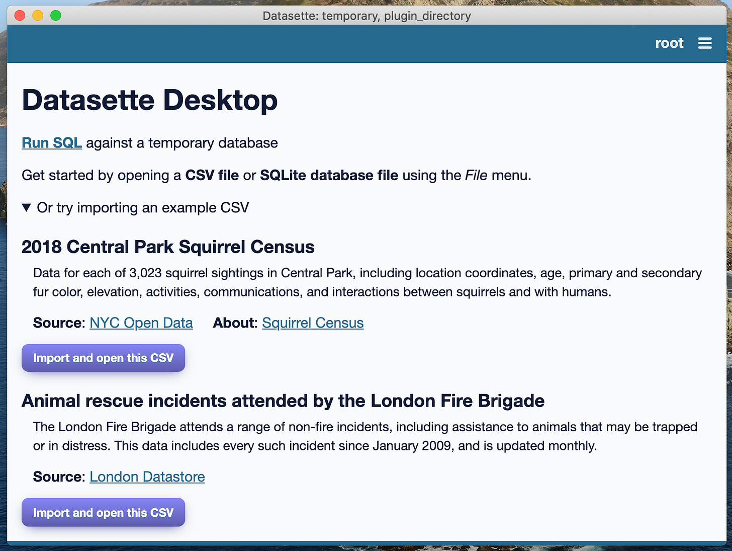 Screenshot of the welcome screen, showing the buttons to import the two example CSVs