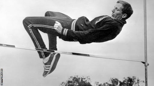 """Richard Douglas """"Dick"""" Fosbury revolutionized the high jump event when he  invented the """"back-first"""" technique . - Jonathan Bluth"""