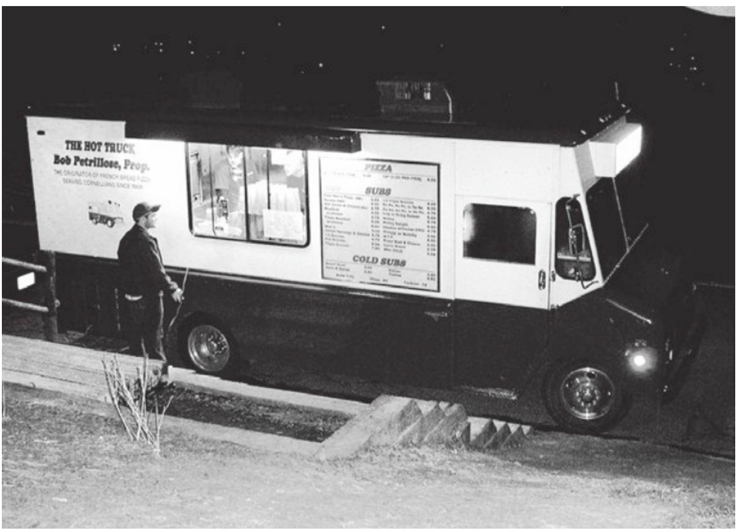 Photo of the hottruck food truck at night.