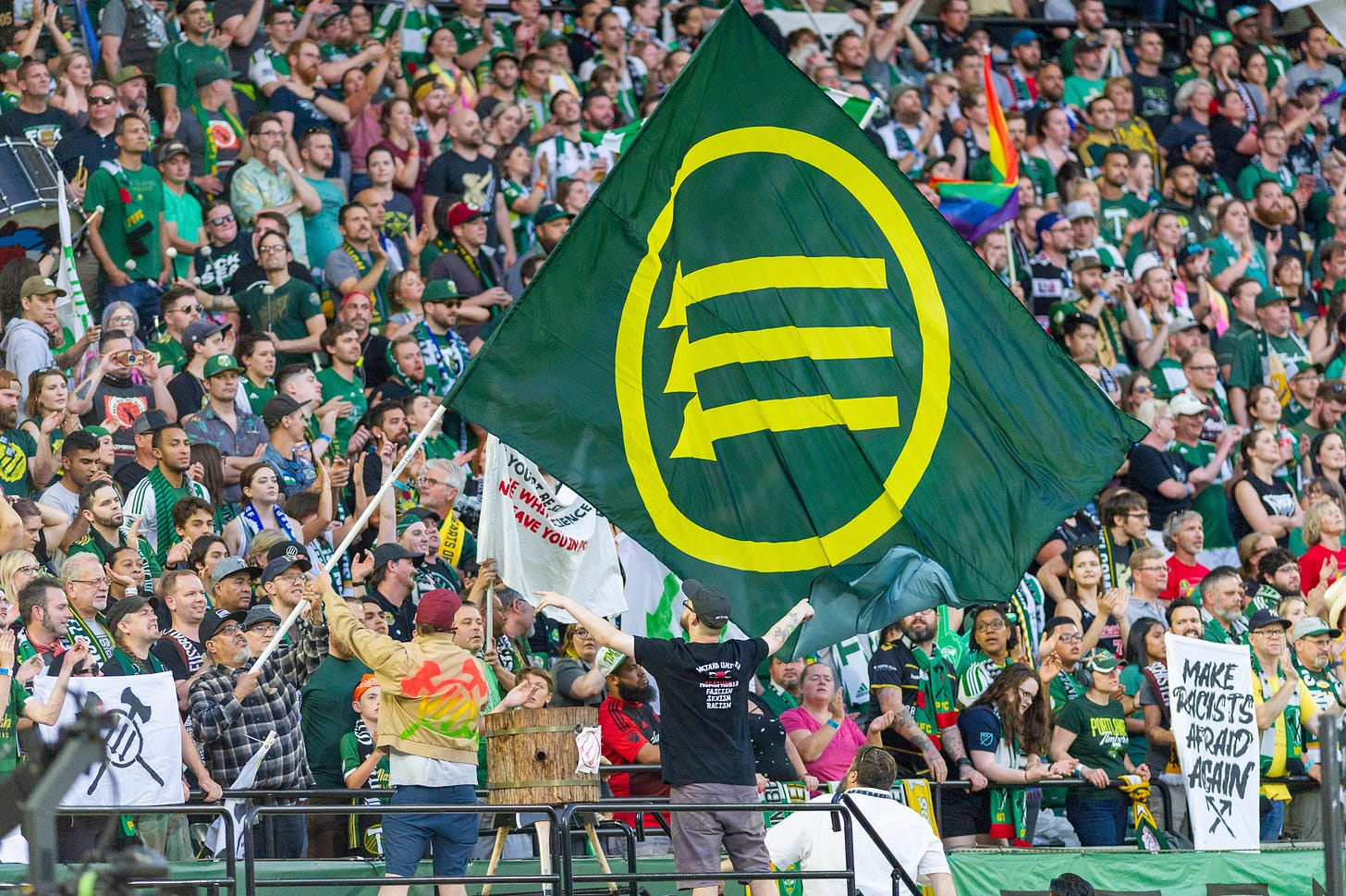 Portland Timbers fans have been using the Iron Front symbol. The MLS says  it is associated with Antifa. - The Washington Post