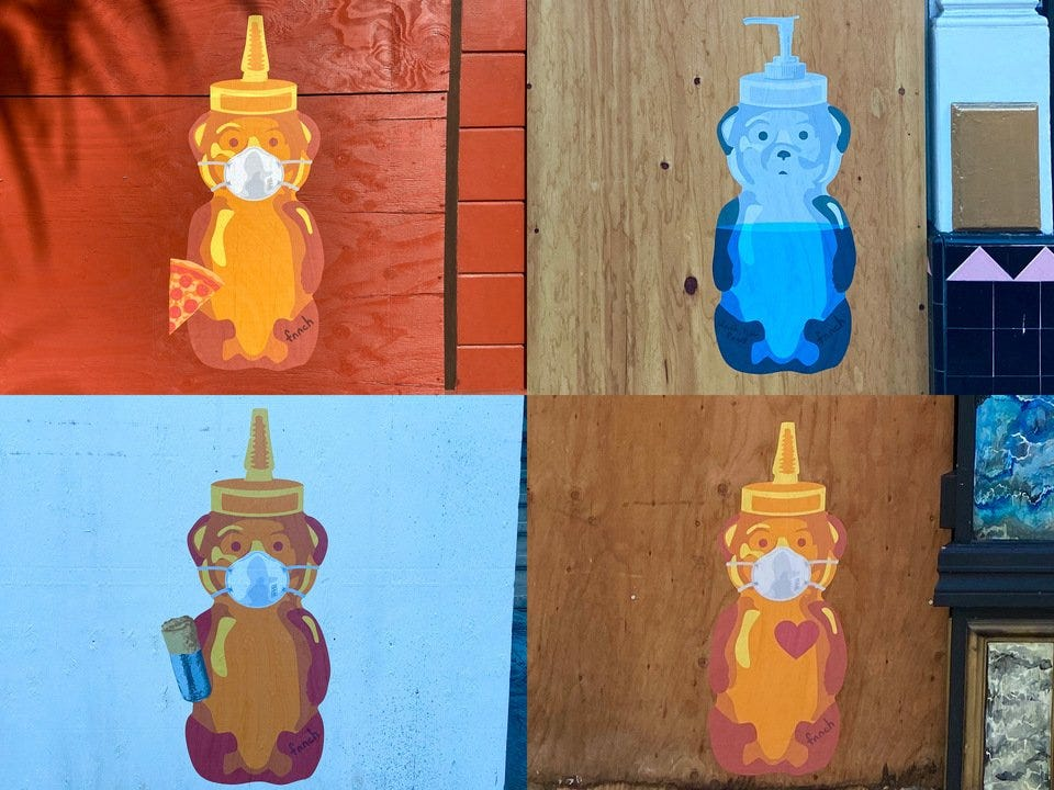 Street artist fnnch installs series of COVID-19-themed honey bear
