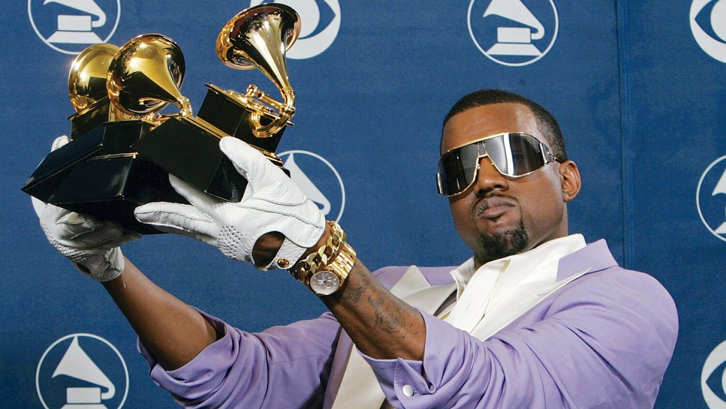 Kanye wearing a gold Vacheron Constantin Overseas at the 2006 Grammys