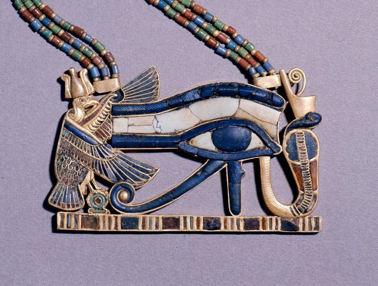 Wadjet Eye Pectoral, found on the mummy of the king Tutankhamun, symbol of  the entity of the body [1280-970]: ArtefactPorn