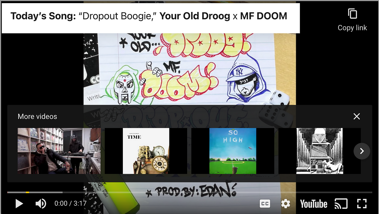 """Today's Song: """"Dropout Boogie,"""" Your Old Droog x MF DOOM"""