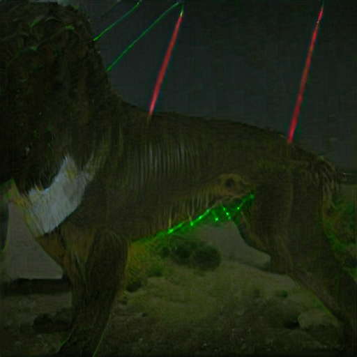 It might be some kind of boxer dog - its head is indistinct. In the background are red and green laser beams. There's green laser light on the dog's belly fur.