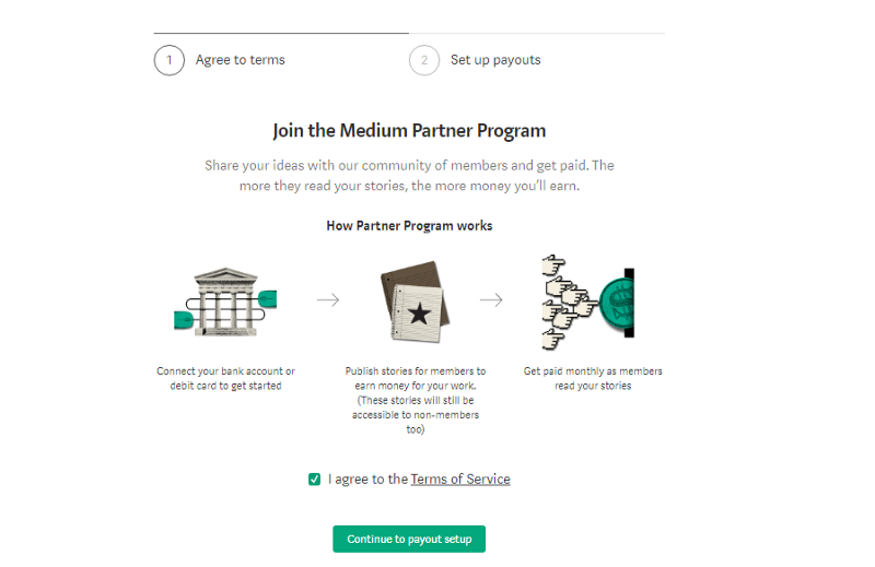Asking the user to join the Medium partner program by clicking on a green button