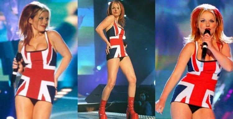 "Geri Halliwell (wearing ""a plain black Gucci dress"" customized with a Union  Jack tea towel!)   Spice girls, 90s pop stars, Geri halliwell"